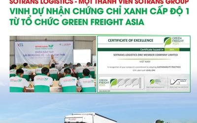 SOTRANS Logistics – Vinh dự nhận chứng chỉ xanh cấp độ 1 từ Tổ chức GREEN FREIGHT ASIA